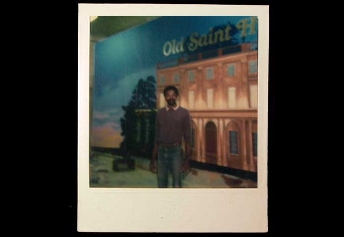 Keni's first scenic backdrop. Painted in 1977 at 'Hollywood Stage', a set and prop shop. Photo taken with a Polaroid camera. Remember those?